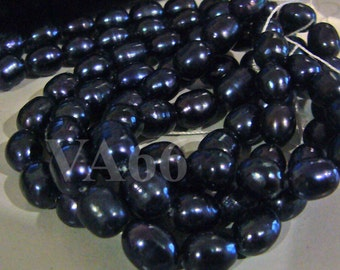 DIY full strand Fresh Water Pearls Puffy Rice Pearl Beads Dark Blue 7mm - 8mm Loose Pearls Jewelry Making Findings Craft
