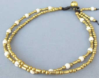 Double Strand Ankle Bracelet with Fancy Brass Bead and Howlite Bead