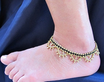 Boho Brass Bead Water drop Cascade Anklet