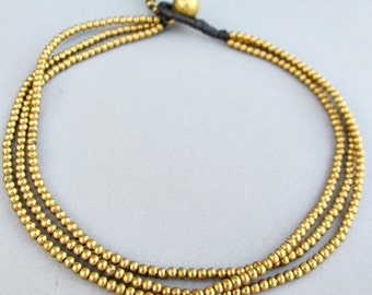 Casual Multi Strand Brass Bead Anklet