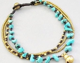 Multi Strand  Turquoise and Single Brass Bell Anklet