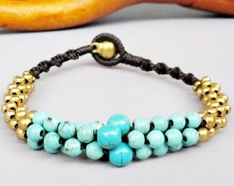 Round Turquoise Brass Bead Stud Bracelet B143