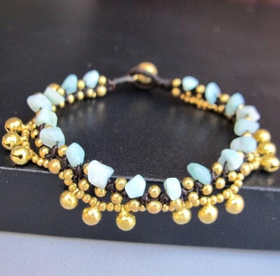 Boho Bracelet Little Cascade Brass Bell with Amazonite