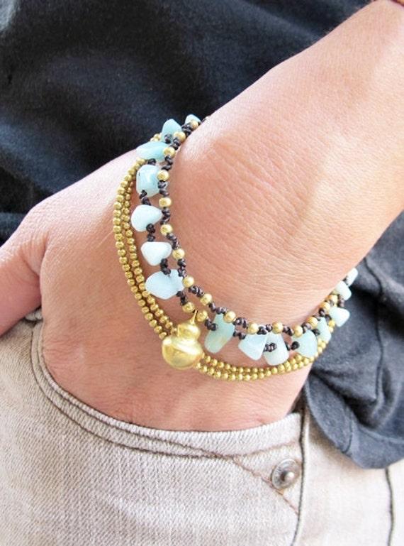 Multi Strand Amazonite and Brass Bead Bracelet