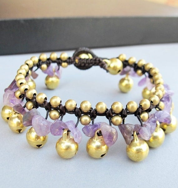 Ring Ring Bell Bracelet with Amethyst Stone