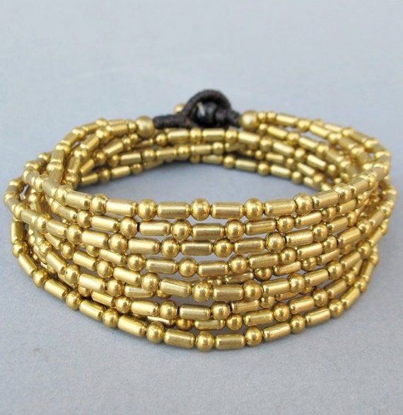 Rice Seed shape Three in One Multi Strand Brass Bead Bracelet or Anklet or Necklace