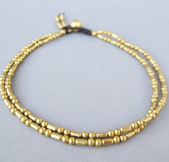Double Strand Ankle Bracelet with Fancy Brass Bead