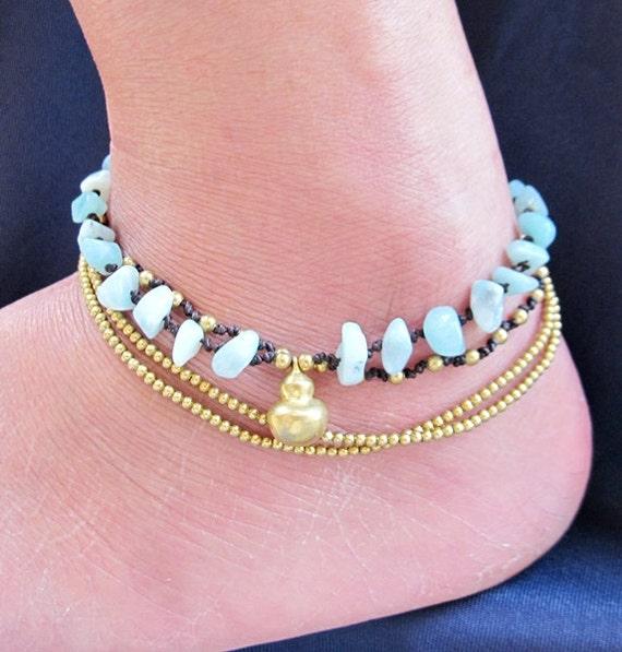 Multi Strand Amazonite and Brass Bead Ankle Bracelet