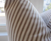 decorator fabric, chocolate brown and off white woven cotton ticking 1 yard
