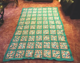 RTS- Granny Square Throw Blanket Afghan in Teal and Pink 45X63 Squares Baby Afghan Home Decor Housewarming gift Childs room bedspread Couch