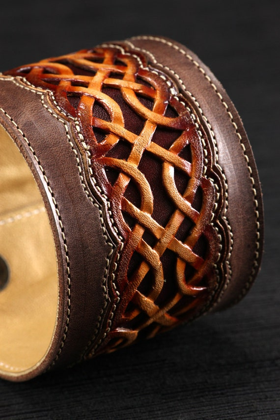 """Leather Cuff:  brown leather cuff with a celtic design """"Celtic Nation Cuff"""""""