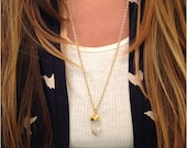 Gold Dipped Clear Quartz Crystal Necklace
