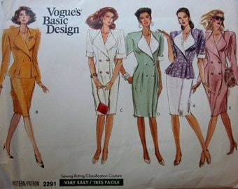 Vogue 2291 Misses 80s Double Breasted Dress, Semi Fitted Top and Straight Skirt Sewing Pattern Size 12 Bust 34