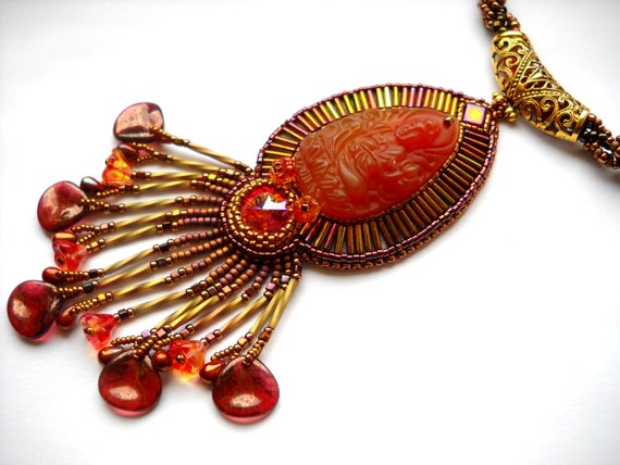 Bead Embroidery necklace orange gold pink - Bead Embroidered