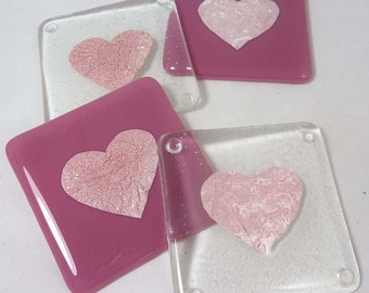 Fused Glass Coasters with Romantic Pink Valentine Hearts  - set of four