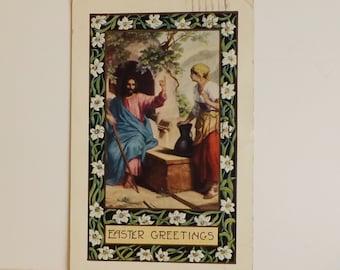 Antique Whitney Made Easter postcard Jesus Christ Christian religious post card vintage ephemera scrapbooking