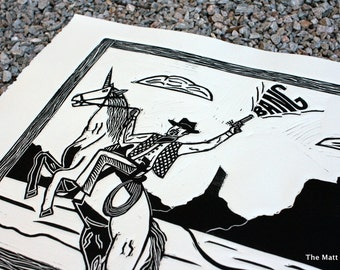 Unicorn Riding Cowboy Linocut Print