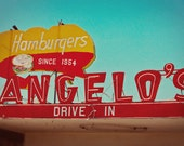 Angelo's Drive-In Vintage Neon Sign - Retro Kitchen Decor - Diner Inspired Art - Googie Font - Fresno - Fine Art Photography