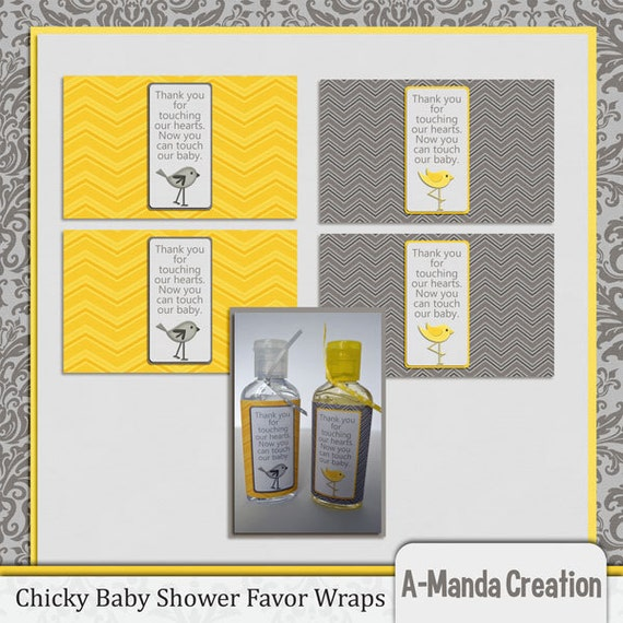 items similar to chicky baby shower hand sanitizer party favor wrapper