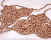 Milk chocolate Crochet  barefoot sandals, leg accessories, nude shoes, victorian lace, sexy, yoga, anklet , steampunk sandals, beach pool