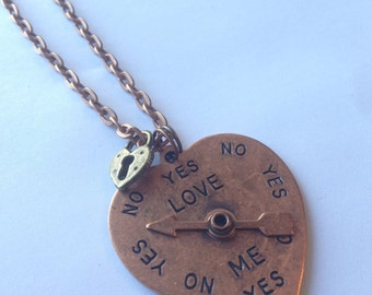 Heart Spinner Love Meter Necklace, Copper Tone