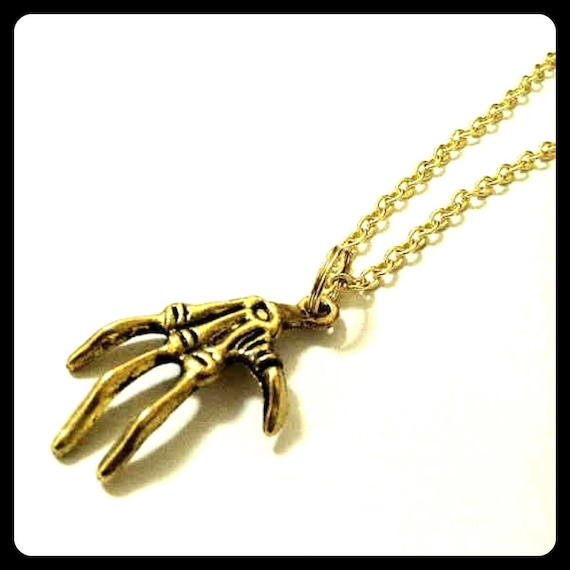 Skeleton Hand Bone,Claw Necklace, Gold Tone