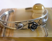 Rare Sterling Cuff Bracelet signed : Denmark SCF ( S.Chr Fogh) Beautiful delicate design with small flowers