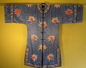 Antique turn of century Embroidered Chinese Blue Silk Robe Kimono  with flowers