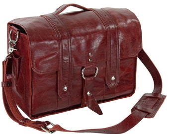 Leather Diaper Bag New - The-Georgetown Ruby Red-made with Italian-full-grain-leather