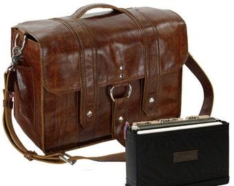 "15"" Caramel Belmar  Italian Leather Briefcase - Made in America"