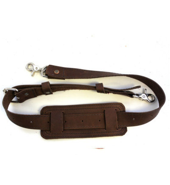 Leather Shoulder Strap  - Hand made in the USA, Thick Full Grain Leather - Rustic Brown