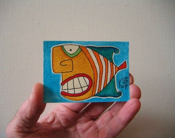 Fish, Original ACEO Watercolor by Fig Jam Studio