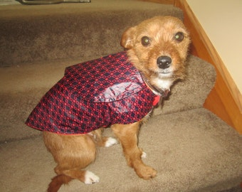 DOG SMALL raincoats with a collar RED Black diamonds retro look