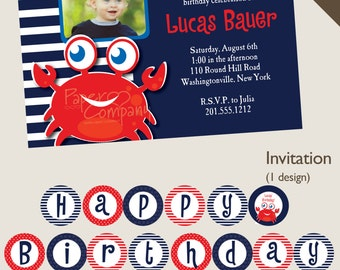 CRAB Nautical First Birthday Birthday Party Package, diy, printable