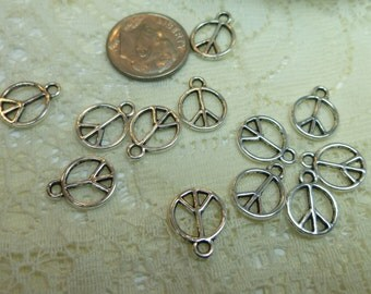 12-Tiny Tibetan SilverSmooth Peace Sign Charms Pendants Embellishments Dangles