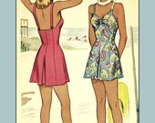 1940s Pinup Bathing Suit, 40 inch bust (plus size)  - Vintage Sewing Pattern PDF 1001