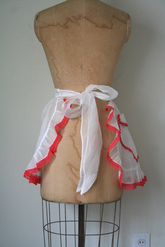 vintage red and white ruffle apron