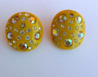 WEISS Signed YELLOW Vintage Celluloid Clip-On Earrings W/Sparkling Ab Austrian Crystal Rhinestones