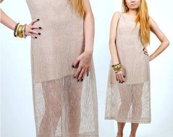 Ethnic Bohemian Maxi Dress / See Through Gauze Midi Dress / Hippie Maxi Dress / S / M / Small / Medium