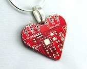 Circuit Board Necklace -- Red Heart -- for Geeky Valentines