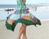 Green Batik Women dresses/summer holiday dresses/maxi embroidery tunics/gift ideas