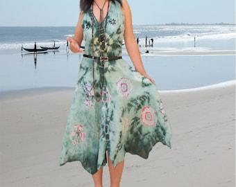 Tie dye tie colorful summer dresses/women holiday Dresses/Ethnic batik dress/prom dresses