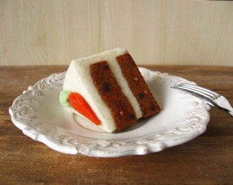 Felt Carrot Cake Slice Play Food or Pincushion