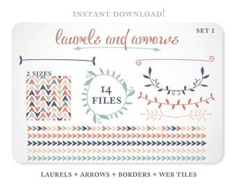 Arrows and Laurels Design Elements - Blog Background - Borders - Instant Download