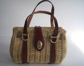 Vintage Rattan and Leather Handbag Small Size