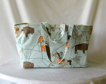 MADE TO ORDER Wild West Diaper Bag, School bag, with Waterproof lining, Mint Green/Orange/Brown