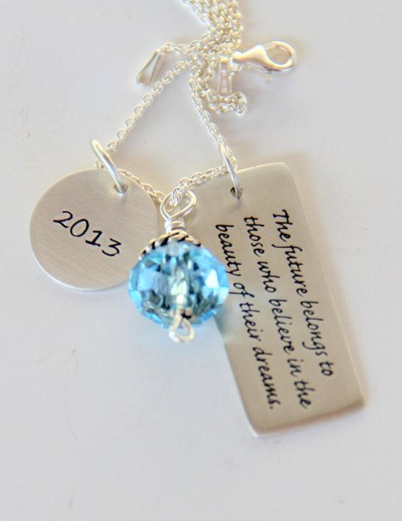 Inspirational Dream 2015, Graduation Necklace - Future Dream Quote Grad Gifts, 2015, Pink,  Eleanor Roosevelt Quotes, Dream Quote