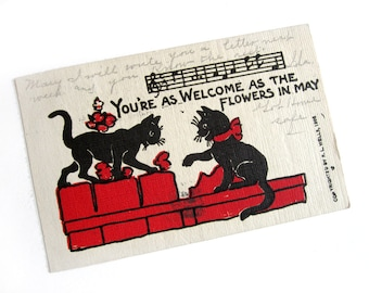 Postcard, R. L. Wells black cats, linen, undivided back, vintage 1906, Edwardian, spring, May flowers, welcome, black and red, music staff
