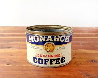 Monarch coffee tin, vintage 1930s or 1940s, tin litho, lion logo, navy blue and cream, red and gold, one pound, key lid, retro kitchen