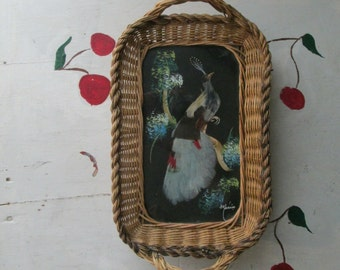 TRAY BIRD WOVEN Wicker Feather Vintage Tropical